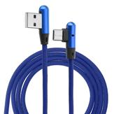 1m 2m Type C naar USB Elleboog Datakabel Geweven Stof Oplaadkabel 2.4A Snel Opladen Datatransmissie Connector
