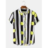 メンズストライプレモンプリントターンダウン襟半袖シャツ