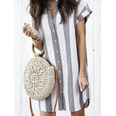 Linen Striped Print Front Button Stand Collar Short Sleeve Casual Dress