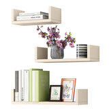 3 Pcs/set Wall-mounted Wooden Storage Shelves Rack Punch Free Wall Hanging Bookshelf Home Decorations Display Stand Bracket