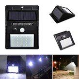 Puissance solaire 20 LED PIR Détecteur de mouvement imperméable à l'eau murale lampe de sécurité jardin extérieur