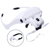 Chuda 5 Lens Loupe Eyewear Magnifier With Led Lights Lamp Interchangeable Lens 1.0X/1.5X/2.0X/2.5X/3.5X Wearing Magnifying Glasses
