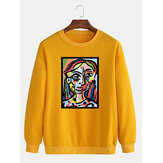 Cotton Mens Abstract Oil Painting Print Drop Shoulder Long Sleeve Casual Sweatshirts