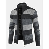 Mens Striped Graphics Knitting Zipper Warm Long Sleeve Sweater Jacket