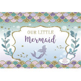 7x5'' Mermaid Party Backdrop Birthday Newborn Photography Baby Shower Decorations