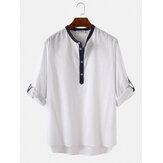 100% algodón para hombre cuello alto manga tres cuartos camisas henley casuales