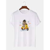 Cute Astronaut Print Breathable Short Sleeve 100% Cotton T-Shirts