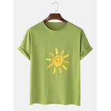 Mens Sun Print Graffiti Casual Short Sleeve T-Shirts