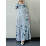 Women Ethnic Floral Print O-Neck Bohemian Casual Long Sleeve Maxi Dress