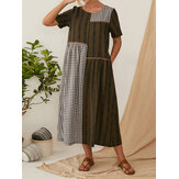 Plaid Striped Patchwork O-neck Short Sleeve Maxi Dress