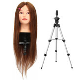 26 Inch 100% Human Hair Dark Gold Hair Head Dummy Head Practice Model Head With Bracket