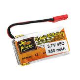 ZOP Power 3.7V 850mAh 1S 45C Wtyczka JST do akumulatora Lipo