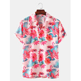 Mens Flamingo Printed Light Casual Revere Collar Short Sleeve Shirts