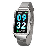 Bakeey A88 Crystal Bezel Milanese Female Fashion Smart Watch Dynamic Heart Rate Message Push Music Control