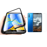 Bakeey Magnetic Adsorption Aluminum Alloy Tempered Glass Protective Case + 2.5D Tempered Glass Screen Protector For Samsung Galaxy A7 2018