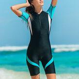 Kadın Trendy Wetsuit Nylon Zip Shorty Mayo Kadınlar Streç Bayan Dalış Takım Mayo Sörf Tulum
