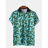 Uomo casual Holiday Banana Leaf Print Golf Camicia