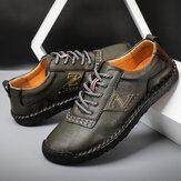 Homens mão costura couro Soft único antiderrapante sapatos casuais