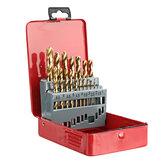 Drillpro M35 Set di punte per trapano al cobalto con rivestimento in titanio HSS-Co Jobber Lunghezza Punte per trapano elicoidale con custodia in metallo per foratura in metallo per legno in acciaio inossidabile
