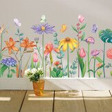 DIY Green Leaves Wall Stickers Flower for Bedroom Kitchen Kids Room Decorations