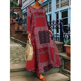 Mulheres Bohemian Print Cotton manga comprida Vintage Dress