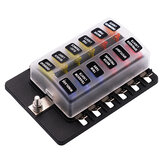 12 Way Blade Fuse Box Holder LED Failure Warning Light 12/24V For Car Bus Caravan