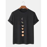 Moon Eclipse Print 100% katoen ademende T-shirts met korte mouwen