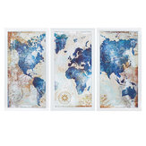 3Pcs World Map Modern Wall Pictures Canvas Hanging Painting Home Living Room Decoration Unframed/Framed