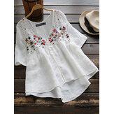 Kadın Yarım Kol Düğmesi Çiçek Nakışı Vintage Bluz
