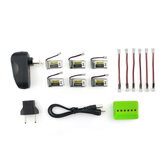 6PCS 3.7V 260MAH 45C LIPO Battery Charger Set for Eachine E010 E010C E011 E011C E013 JJRC H67
