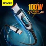 Baseus 100W LED عرض USB-C إلى USB-C PD القوة كابل توصيل E-mark Chip Fast شحن خط سلك نقل البيانات لـ Samsung Galaxy S21 ملحوظة S20 Iltra Huawei Mate 40 OnePlus 9 Pro لـ iPad Pro 2020 MacBook Air 2020
