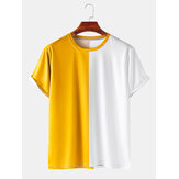 Mens Colorblock Breathable & Thin Casual Round Neck T-Shirts