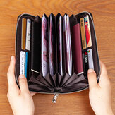 Men & Women Genuine Leather Large Capacity RFID Anti-Theft Card Holder Business Clutch Bag Long Wallet