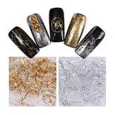 Perak Emas Benang Shimmer Glitter Nail Art DIY Dekorasi