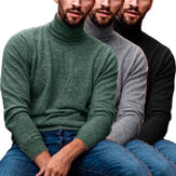 Men's Long Sleeve Turtleneck Pullover Casual Comfortable Sweaters Autumn Winter Warm Knitted Clothes