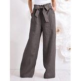 Frauen Baumwolle Hohe Kordelzug Elastische Taille Lose feste breite Beinhose