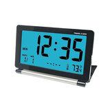 LoskiiDC-12トラベル目覚まし時計LCDバックライト付きミニデジタルデスク折りたたみ式電子アラーム