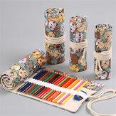 AINIBABY 24/36/48/72 Colors Solúvel em água Conjunto de lápis coloridos Retro Cute Cat Padrão Lápis Bolsa Conjunto de desenho para pintura externa interna