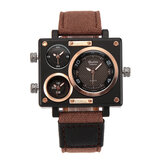 OULM 3595 Fashion Creative Dial Polygon Watch Case Multiple Time Zone Men Quartz Watch