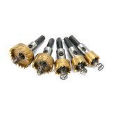 Drillpro 5本HSS 6542チタンコーティング穴のこぎり歯HSS穴鋸カッタードリルビットセット16 / 18.5 / 20/25/30 mm