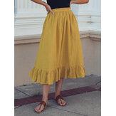 Однотонные повседневные юбки трапециевидной формы с оборками и эластичной талией со складками для Женское