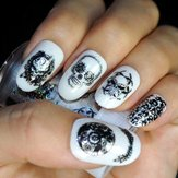 Halloween Laser Skull Nail Stickers Decals Gorgeous Foils Wraps Manicure Decoration Zombie Design