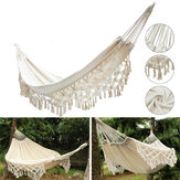 240x150CM Large Double Cotton Hammock Fringe Swing Beach Yard Hanging Chair Bed