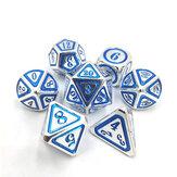 7 pièces / ensemble dés en métal polyédrique ensemble jeu de rôle donjons et dragons sac bar fête table jeux dés