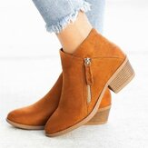 Plus Size Women Casual Zipper Chunky Heel Short Single Boots