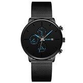 YOLAKO A0543 Masculino Fashion Luminous Calendar Мужские кварцевые часы с ремешком из нержавеющей стали