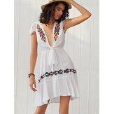 Women Embroidered V-Neck  Slim Dress