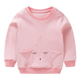 Kid Girls Long Sleeve Star Pattern Cotton Sweatshirt
