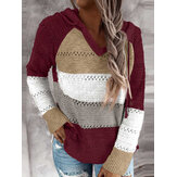 Women Autumn Stripe Print V-neck Hooded Daily Casual Knitted Sweater