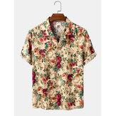 Botão de impressão floral de algodão com várias camisas de manga curta para férias no Havaí